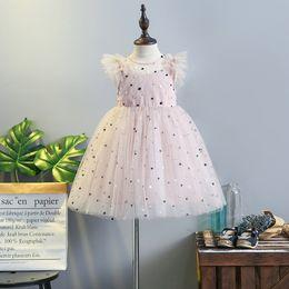 Wholesale Lolita Prom Dresses - 2018 Baby Girls Dress Summer Polka Dots Tulle Fly Sleeve Children Pricness Dress Korean Kids Tutu Dresses kids prom dresses C3117