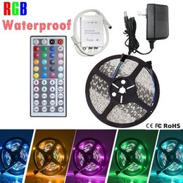 Wholesale Led Strips Color Changing - LED Strip Lights, 300leds 5m Waterproof RGB Color Changing SMD 3528 Adhesive Light Strip with 44key Remote Controller + 12v Power Supply