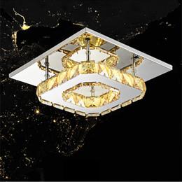 2019 kristall-stahl-kronleuchter LED Kristallleuchter 12W Led Deckenleuchte Kristall Glanz Licht für Home Esszimmer Restaurant Edelstahl Klare Decke rabatt kristall-stahl-kronleuchter