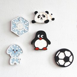 Wholesale night pandas - INS Lovely Decor Night Light Wooden LED Night Light Panda Snowflake Football Penguim Decorative Wall Lamp Home LED Gift IY304123