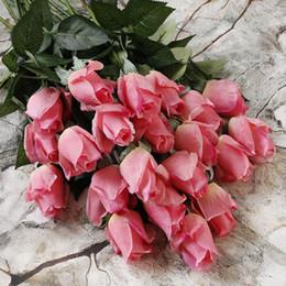 Wholesale Flower Dahlias - artificial flower wedding Silk flowers for wedding bouquet roses dahlias fall vivid fake leaf wedding flower bridal bouquets decoration sim