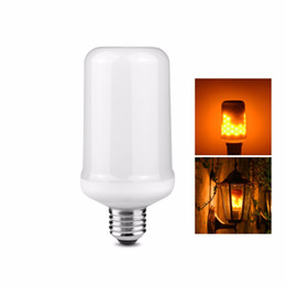 Wholesale two bulb lamp - Novelty Light LED Lamp E27 E26 Dynamic Flame Light Flickering Dancing Fire Two Modes 3528 LED Bulb AC100-265V Holiday Decoration