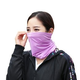 Ледяной шарф онлайн-2018 Outdoor riding sports cold ice scarf multi-purpose headscarf solid color breathable sunscreen collar