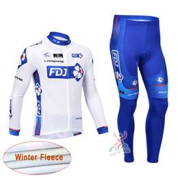 Wholesale Giant Cycling Pants - FDJ GIANT team Cycling Winter Thermal Fleece jersey (bib) pants sets Polyester +Coolmax Sleeve bib cycling kits Wear C1208