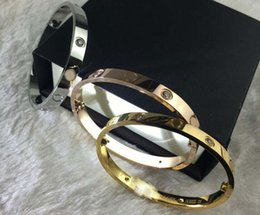 Wholesale halloween box set - 21CM Love Screw Bangles 316L Titanium Steel Bracelets Luxury Brand Ten CZ Stone Screwdriver Bracelet Bangle for Women Men Jewelry New Arriva