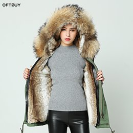 Wholesale Jacket Hood For Women - OFTBUY 2018 New Wine red big raccoon fur hood winter jacket women parka natural real fur coat for women thick soft lining