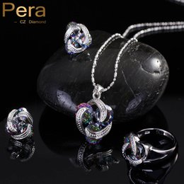 Wholesale Mystic Necklace - Pera Fashion 925 Sterling Silver Women 3 Pcs Jewelry Gift Rainbow Mystic Crystal Stone Necklace And Earrings Sets For Girls J097
