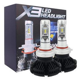 Wholesale Fan Light Kits - 5 sets High Dipped Beam H4 9004 Led Car Bulbs 6500K 12000LM Headlight Kits X3 Automobile Head Light 50W Pair Fan-less ZES Chips lamp