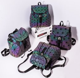 6594e39d46a7 Fashion Geometric Lattice Mini Backpack Travel School Bag Drawstring  Luminous Teen Backpack