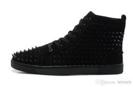 Wholesale media matters - New Arrival mens womens black matter leather with black spikes high top sneakers,designer men causal sports shoes Drop shipping
