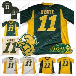 Argentina NCAA NDSU Bison # 11 Carson Wentz 2018 Jersey Oro amarillo Verde Blanco Dakota del Norte State College Fútbol Hombre Juvenil Jersey de los hombres cheap green youth football jersey Suministro
