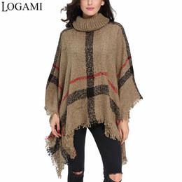 Mulheres em estilo poncho mulheres on-line-Logami estilo poncho casaco outono inverno poncho tricô gola alta mulheres longo ponchos e capes camisola pullovers pull femme