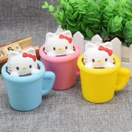 Wholesale Mini Pussy - Wholesale 100Pcs Mini Cute Squishy Kawaii Cup Cat Pussy Squeeze Cute Animal Slow Rising Scented Bread Cake Kid Toy Gift Doll