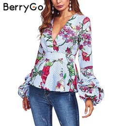 Wholesale Flower Blouse Puff Sleeves - BerryGo Ruffle v neck flower print blouse shirt women Puff sleeve casual female blouse top Autumn winter streetwear basic