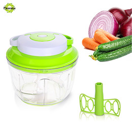 Wholesale Hand Held Mixers - Pawaca Easy Pull Manual Food Chopper Vegetable Slicer Dicer Hand Held Onions Garlics Fruits Nuts Salad Processor Mixer Blender