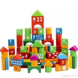 Wholesale domino wholesale - 100 Pcs Numbers letter Wooden Building Blocks toy Colorful Domino Printing Educational Toys Wood Custruction Block Brick FFA179
