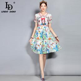 6e2087afb6c LD LINDA DELLA New 2018 Fashion Designer Runway Summer Dress Women s Short  Sleeve Casual Cartoon Floral Printed Elegant Dress