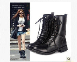Wholesale Women Lace Up Combat Boots - UK US Ladies Womens Combat Military Boots Lace Up Faux Leather New Women Boot Shoes PLUS S