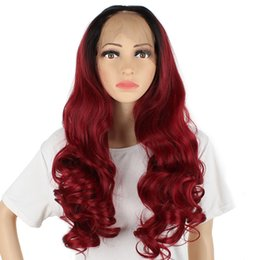 wine synthetic wig Australia - #1B 99J Color 14-26 Inch Body Wave Ombre Wine Red Burgundy Synthetic Lace Front Wigs Glueless Heat Resistant Fiber For Woman's Wig