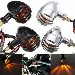 Wholesale Motorcycle Parts For Suzuki - Original Metal Bullet Black Silver Amber Bulb Light Motorcycle Turn Signal For Harley Suzuki KAWASAKI Honda Modification Parts
