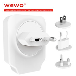 Wholesale Cellphones Chargers - Original WEWO Cellphone Chargers 5V3.4A Top Speed EU Europe US UK Standard USB Plug Power Wall Charger For Iphone 3 ports Charger