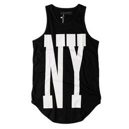 90a9beb28ec9b2 Urban Mens Tank Tops Summer Cotton Streetwear Striped Extended Casual  Curved Hem Sleeveless Tops For Men
