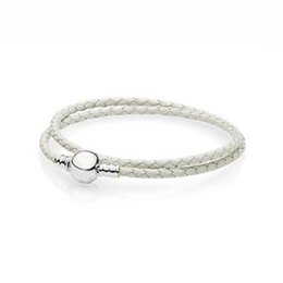 Wholesale 925 Silver Braided Bracelets - Authentic 925 Sterling Silver Ivory White Braided Double-Leather Charm Bracelet Fit DIY Rad iant Hearts Charm Beads Jewelry