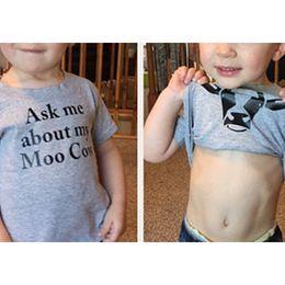 2020 vestiti divertenti del neonato Abbigliamento Funny Boys Chiedimi informazioni su My Moo Cow T shirt Summer Kids Top T-shirt maniche corte T-shirt per neonati vestiti divertenti del neonato economici