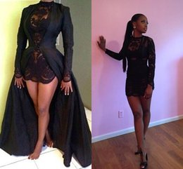 Wholesale Coats Pictures - 2018 Sexy Black Two Pieces Shealth Evening Dresses See Through Long Sleeves Appliques Detachable Coat Plus Size Custom Made Prom Dresses