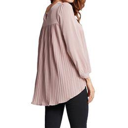 6b22683d4a4 4XL 5XL Women Chiffon Blouse Pleated Back Long Sleeve Asymmetric Shirt  Loose Casual Plus Size Shirt Oversized Tops Female 2019