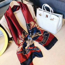 Wholesale Spring Scarfs - d19 3 color 2018 hot 180*90cm luxury brand spring fall women scarf lady silk scarves print soft shawls pashmina long size bandana