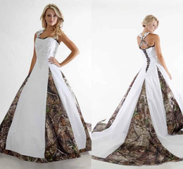 Wholesale Colorful Spaghetti - 2018 New Camo Wedding Dresses Spaghetti Appliques A Line Sweep Train Elegant Country Bridal Gowns Custom Made Wedding Party Bridal Gowns