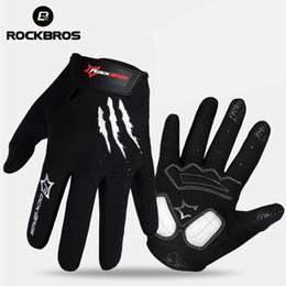Wholesale Women Gel Cycling Gloves - ROCKBROS Bike Bicycle Gloves Full Finger Bike Bicycle MTB Gloves Touch Screen Gel Padded Breathable Shockproof For Men Women