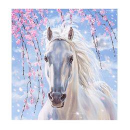 2019 vernice doni di cavallo 5D Pittura Diamante Diy Kit Cavallo Bianco Ricamo A Punto Croce Ricamo Su Tela Dipinti Frameless Squisita Per I Bambini Regalo 11lx jj vernice doni di cavallo economici