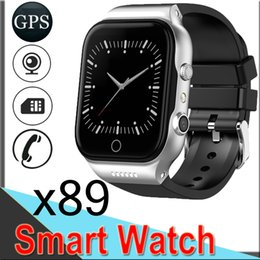 assistir telefones dual core Desconto X89 Inteligente Relógios 1.54 polegada GPS WIFI Android5.1 Dual Core Bluetooth Câmera 512 MB + 8 GB 3G Chamada de Telefone com Bateria 600 MAH 50 Pacotes EXCTX89
