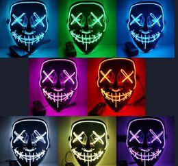 Maschere fantasma di Halloween a LED The Purge Movie Wire Maschera incandescente Maschere a pieno facciale Maschere Costumi di Halloween Regalo per feste da costumi fornitori