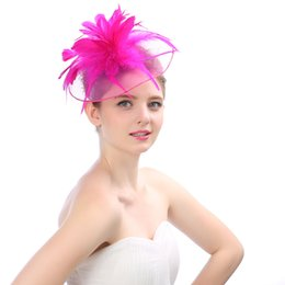 Wholesale Black Feather Fascinator Hat - 2018 Bridal Hats Jewelry Women Girl Lady Black Party Cocktail Prom Bridal Wedding Feather Fascinator Hat Headwear Cheap