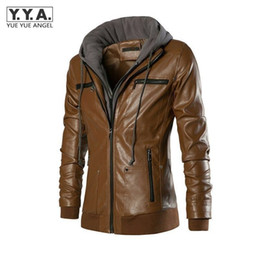 Wholesale Fake Leather Coats - Wholesale- Hot Sale Europe Style Spring Autumn Slim Fit Hooded Fake Two Piece Men's Motorcycle Leather Coat Men Clothing PU Leather Jackets