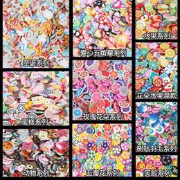 Fleurs en pâte polymère en Ligne-1 pack 5mm Polymer Clay 3d Nail Art Décoration Mix Fleurs Plume Fruit Fimo Canne Pour DIY Acrylique Nail Téléphone Fournitures