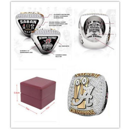 Wholesale solid gold man ring - 2017 2018 Alabama Crimson Tide National Championship Ring Solid Men Gift With Wooden Box size 8-14 high quality wholesale Drop Shipping