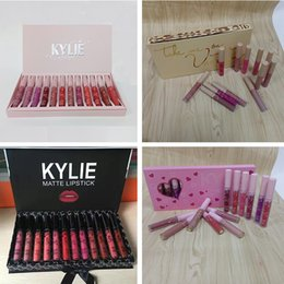 Wholesale gloss set - kylie Lipgloss fall & pink & brithday & take me on 12 color Matte Liquid Lipsticks Kylie Cosmetics 12pcs Lipgloss Lip Gloss Set