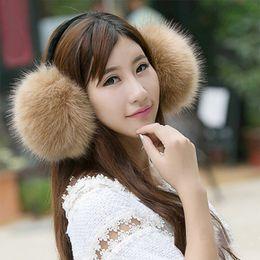 schwarzes fauxpelzstirnband Rabatt große Faux Fox Pelz Ohrenschützer Winter Warm schwarz weiß rot rosa Niedlichen Plüsch Ohr Muff flauschigen Ohr Cover Warmers für Mädchen Frauen Stirnband