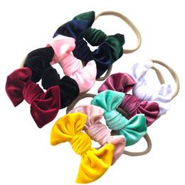 Wholesale Velvet Accessories - Baby Girl Velvet Bowknot Headbands Girls Velvet Bow Hair Nylon Headband Accessories Kids Photo Props 10pcs lot