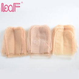Wholesale Light Brown Wig Closures - Loof 12pcs 4 X 4 Inch Swiss Lace Closure Frontal Base For Making Lace Top Closure Wigs Accessory Light Brown Hairnets