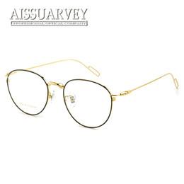 a1607ab3f3c vintage glasses gold frames Promo Codes - Pure Titanium Round Vintage  Optical Eyeglasses Frame Brand Designer