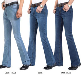male bell bottoms Coupons - Free Shipping Men's Autumn And Winter Business Casual Boot Cut Jeans Male Mid Waist flares Semi-flared Bell Bottom Pants 27-34