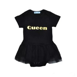 Wholesale Dance Shorts For Girls - Baby Girls ballet dress lace romper Queen metallic printing black short sleeve romper toddlers cute summer outfits dancing clothing for 1-3T