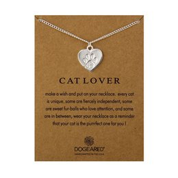 Wholesale cat wholesale - designer Greeting cards jewelry 50 cm long necklace golden & silver Cat paw of accessories pendants popular gifts for young people