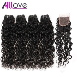 wet wavy hair 22 inches Coupons - Best 10A Brazilian Hair Human Hair Bundles With Closure Water Wave 4Bundles With Closure Wet And Wavy Human Hair Extensions Wholesale
