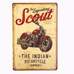 MOTOCICLETA INDIA El Legendario Scout Antiqued Metal Retro Estaño Placa Signo desde fabricantes
